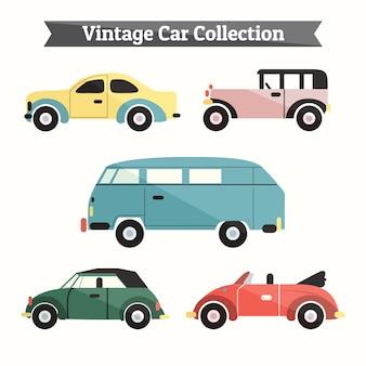 Conjunto de coches retro estilosos en diseño plano