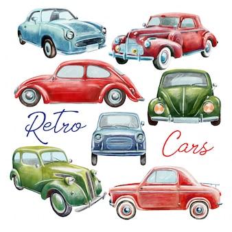 Conjunto de coches retro pintados a mano.