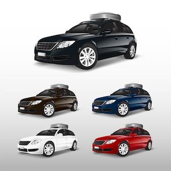Conjunto de coches suv con cofre portaequipajes.