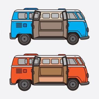 Conjunto de coches vintage retro clásico