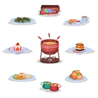 Conjunto de cocina francesa, galletas de macarrón, caracoles, fondue de queso, pisto, ancas de rana, sopa de cebolla, eclairs ilustraciones sobre un fondo blanco.