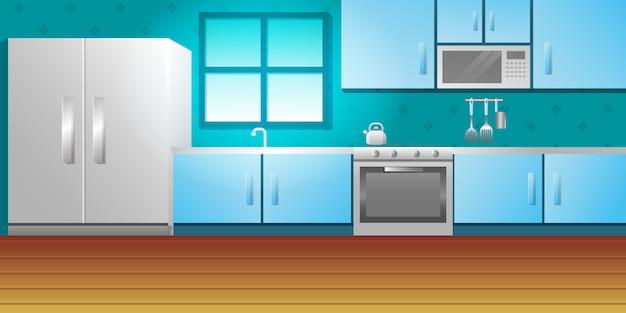 Conjunto de cocina muebles comedor fondo tamplate