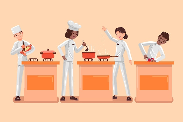 Conjunto de cocineros ilustrados