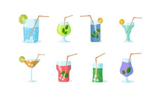 Conjunto de cócteles. bebida vitamínica. batido de ingredientes orgánicos o cócteles con pajita. recetas de bebidas a base de frutas y hierbas.