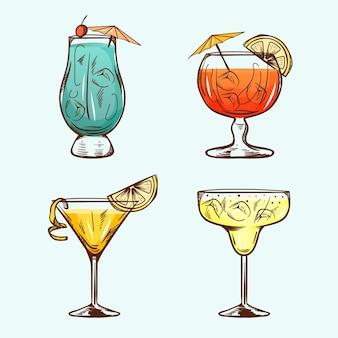 Conjunto de cócteles dibujados a mano
