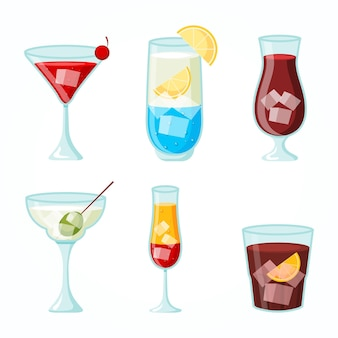 Conjunto de cócteles de diseño plano