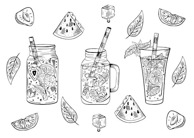Conjunto de cócteles con frutas