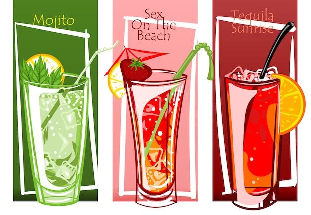 Conjunto de cócteles, ilustración de vector de mano libre dibujado.