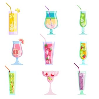Conjunto de cócteles de jugo sabroso colorido moderno, verano
