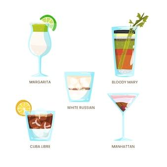 Conjunto de cócteles refrescantes dibujados a mano