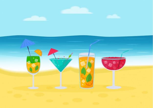Conjunto de cócteles tropicales. bebidas alcohólicas de verano en vasos en la playa, mojito, vodka, sambuca, martini, jugos, bloody mary.