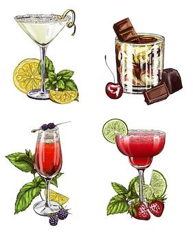 Conjunto de cócteles de verano.