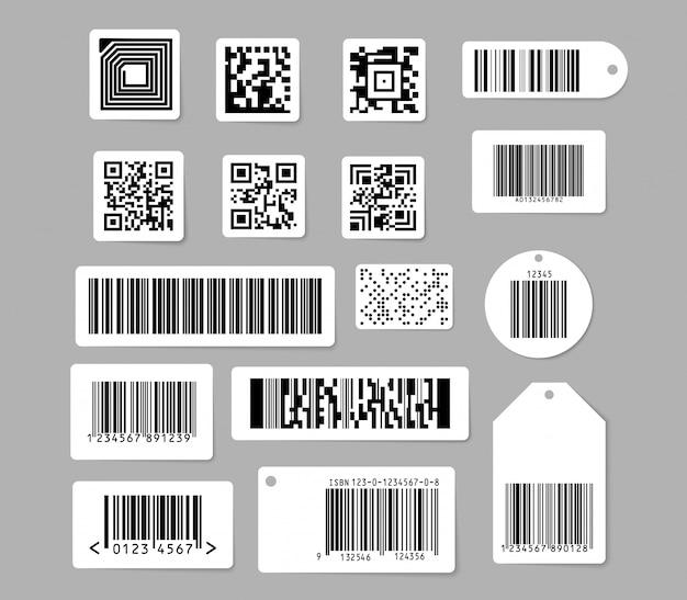 Conjunto de códigos de barras y códigos qr