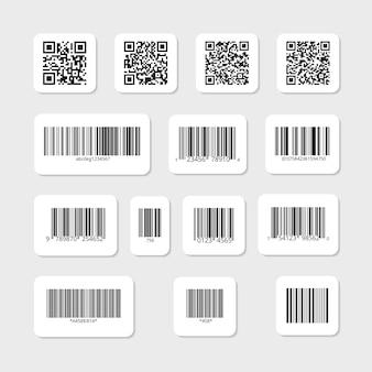 Conjunto de códigos de barras y qr en pegatinas blancas. datos de información de la etiqueta, tira de identificación