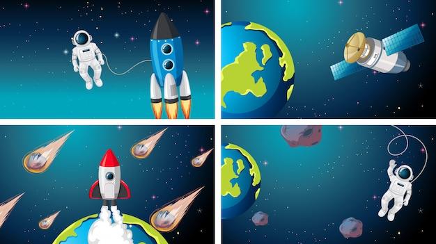 Conjunto de cohete, astronauta y satélite scne