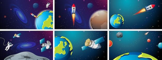 Conjunto de cohetes y escena de la tierra