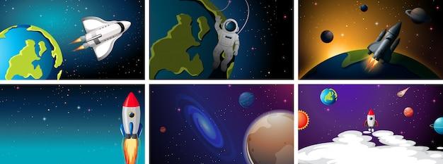 Conjunto de cohetes en escenas espaciales
