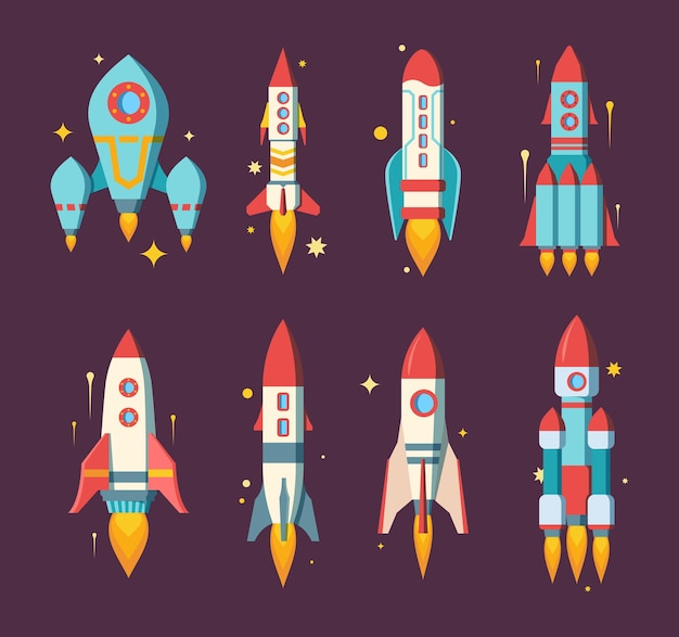 Conjunto de cohetes espaciales. naves estelares modernas de varias formas, estaciones de investigación de carga multietapa pesada de pasajeros con tres potentes motores de color elegante