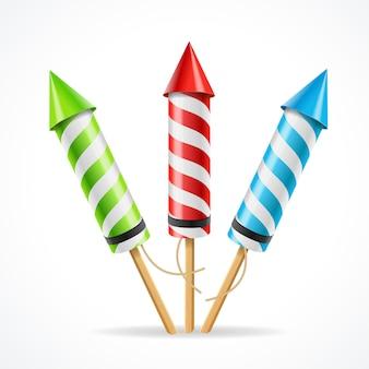 Conjunto de cohetes de fuegos artificiales. el atributo de la diversión.