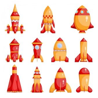 Conjunto de cohetes rojos y amarillos brillantes