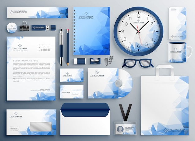 Conjunto de colateral de negocio abstracto azul