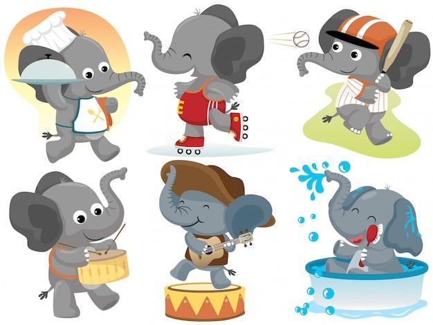 Conjunto de colección de actividades de dibujos animados divertidos elefante
