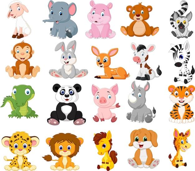 Conjunto de colección de animales de dibujos animados
