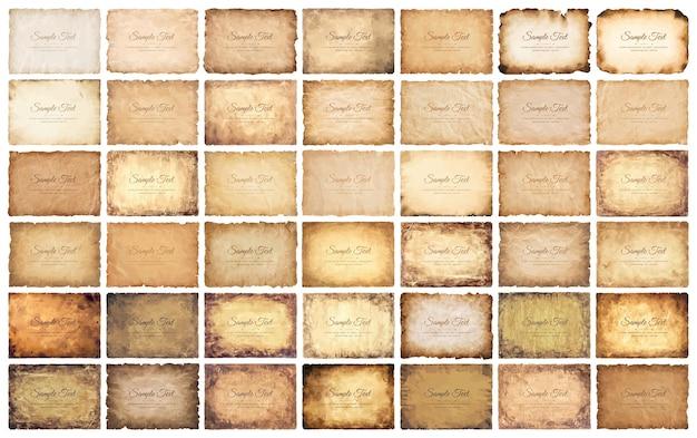 Conjunto de colección antigua hoja de papel de pergamino vintage envejecido o textura aislado sobre fondo blanco.