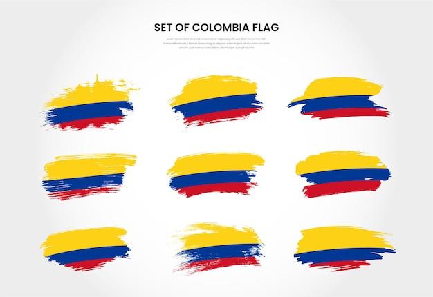 Conjunto de colección de banderas de trazo de pincel grunge de país de colombia