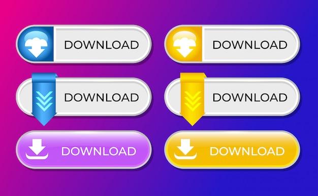 Conjunto de colección de botones de descarga para plantilla ui ux