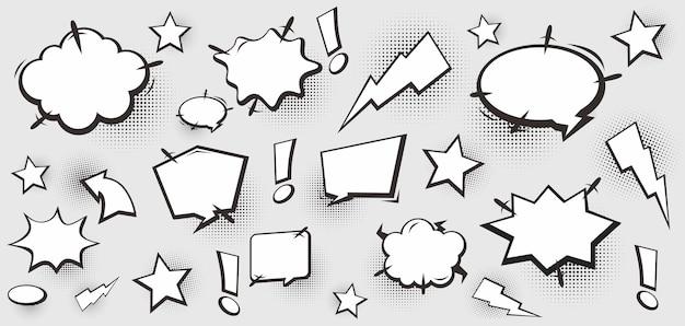 Conjunto de colección de burbujas de discurso cómico en blanco