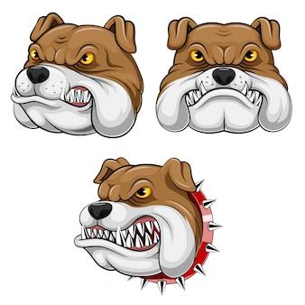Conjunto colección de cabeza de mascota de un bulldog.