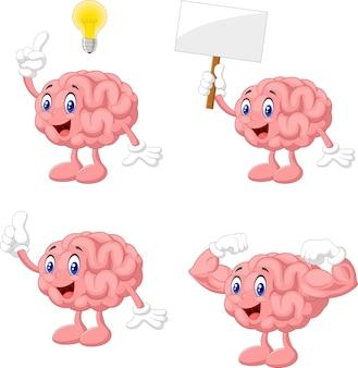 Conjunto de colección de cerebro divertido de dibujos animados