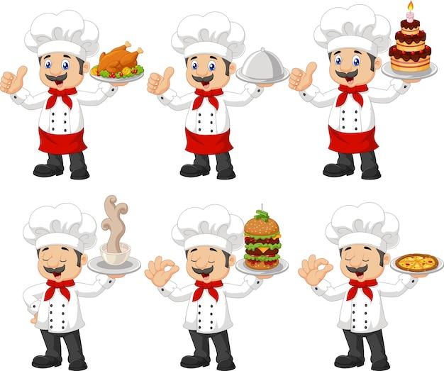Conjunto de colección de chef divertido de dibujos animados
