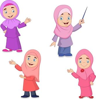 Conjunto de colección de chicas musulmanas de dibujos animados