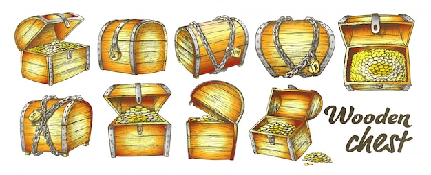 Conjunto de colección de cofre del tesoro