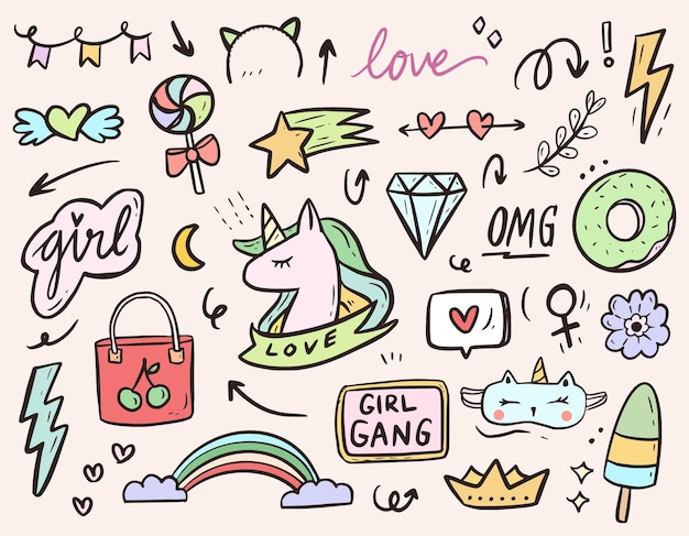 Conjunto de colección de conjunto de dibujo de doodle de dibujos animados de pegatina de unicornio