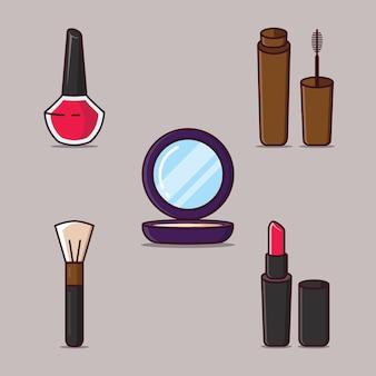 Conjunto de colección de cosméticos de 5 lápiz labial espejo compacto pintura de uñas rímel y pincel de maquillaje ilustración plana