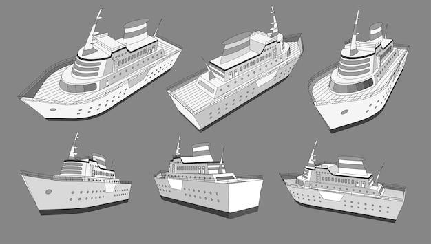 Conjunto, colección con crucero gran barco 3d