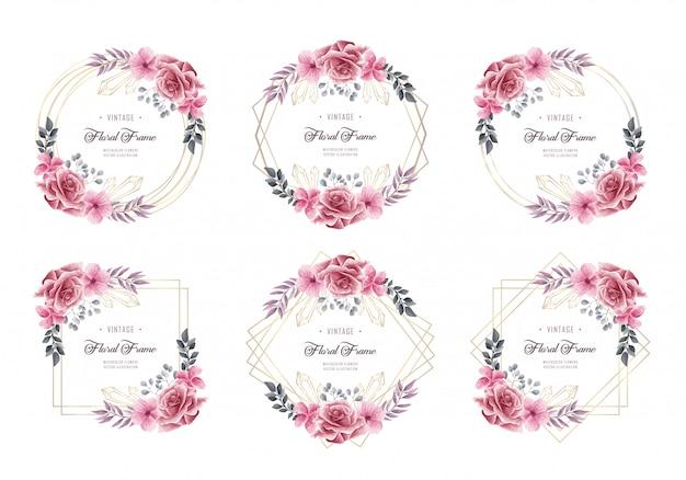 Conjunto de colección de cuadros florales acuarela