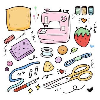 Conjunto de colección de dibujo de color de doodle de costura