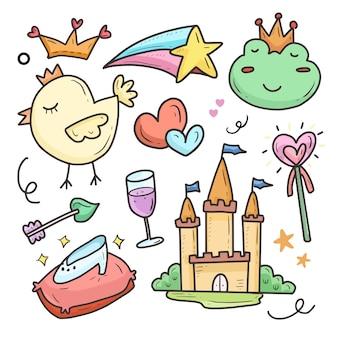 Conjunto de colección de dibujo de dibujos animados de princesa y castillo de cuento de hadas pegatina