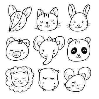 Conjunto de colección de dibujo de doodle de cara de animal lindo