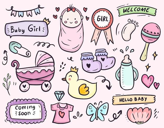 Conjunto de colección de dibujo de doodle de icono de dibujos animados de fiesta de ducha de bebé niña