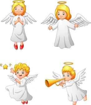 Conjunto de colección de dibujos animados ángeles felices
