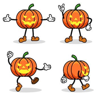 Conjunto de colección de dibujos animados de calabaza de halloween