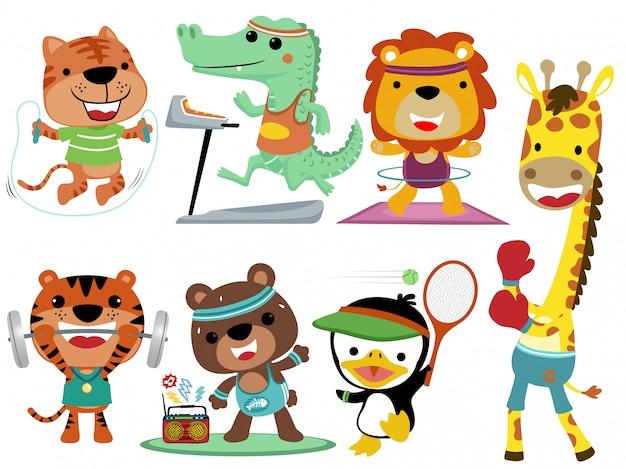 Conjunto de colección de dibujos animados de deporte de animales