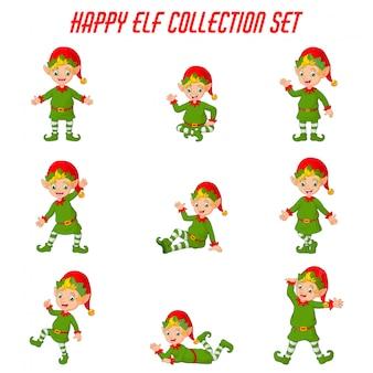 Conjunto de colección de dibujos animados elfos de navidad