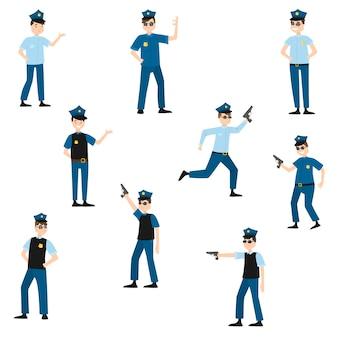 Conjunto de colección de dibujos animados lindo policía estadounidense en el trabajo en varias poses con pantalones azul oscuro y camisa azul claro.