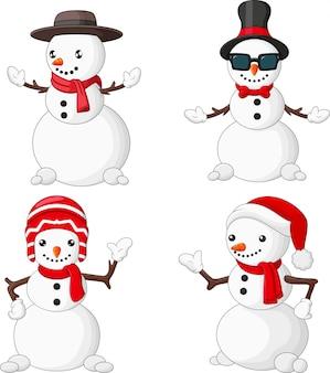 Conjunto de colección de dibujos animados navidad muñeco de nieve